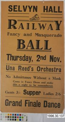 Selvyn Hall Railway Fancy and Masquerade Ball