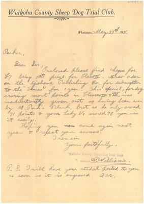 Waikohu County Sheep Dog Trial Club letter to Gerard Parker