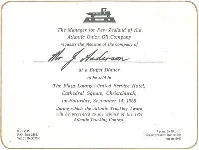 Atlantic Union Oil Company :  invitation to Atlantic Trucking awards ceremony; 1968; 31288