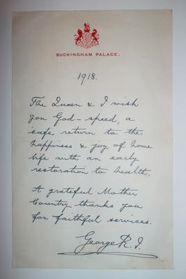Charles Bull letter from George V