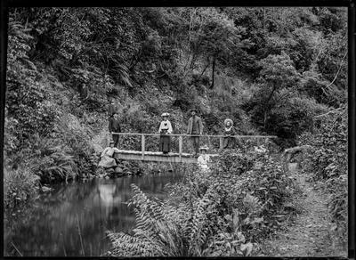 Group of eight on and around footbridge.