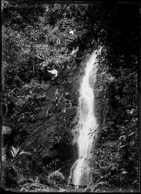 Waterfall with figures amongst the bush.