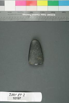 Small stone adze. Grey stone with pale lineal faults. Arch shaped overall on lateral and poll edges. Proximal/ poll end curved, distal end/ blade sharpened. One large chip on one corner of the blade.