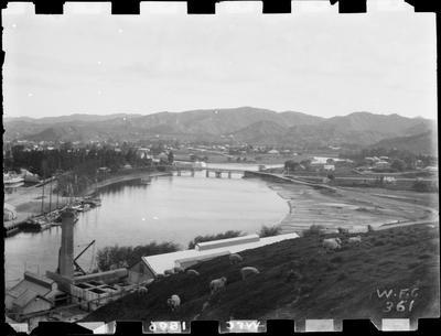 Gisborne from Kaiti Hill, 1896. Turanganui River, Reads Quay.