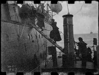 """Snark"" tendering a coastal vessel, ?1897?."