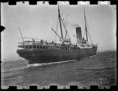 """""""Rotomahana"""" coastal passenger ship, c.1897."""