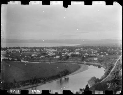 Gisborne from above the Waimata River, 1896.