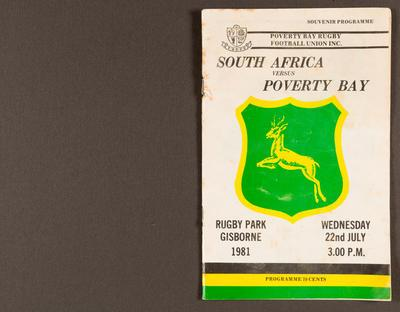 Souvenir programme : South Africa versus Poverty Bay