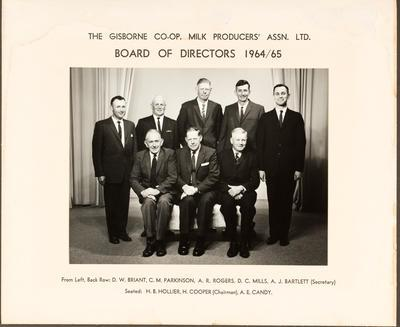 Gisborne Co-op Milk Producers Association Ltd. Board of Directors 1954/65
