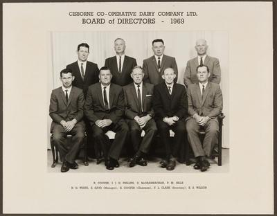 Gisborne Co-operative  Dairy Company Ltd. Board of Directors -1969