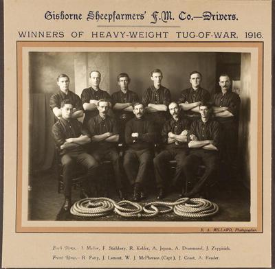 Gisborne Sheepfarmers F. M. Co. - Drivers. Winners of Heavy-Weight Tug of War 1916; 1916; 42843