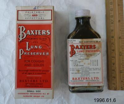 Baxter's Pulmonic Elixir and Lung Preserver
